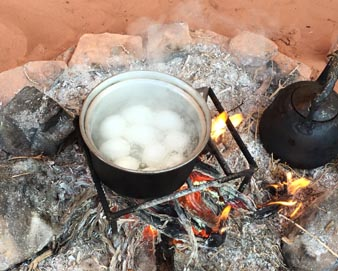 Eggs and kettle on fire