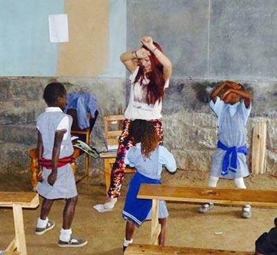 Emma-jane dancing with pupils