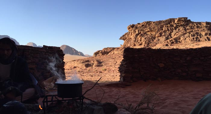 Fire, eggs and early morning sun