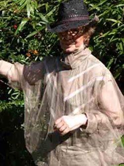 Yours Truly wearing a silver net 'shielding' jacket and shielded hat