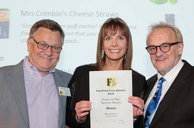 Jeffrey, on the left, presenting the award for the Down The Pub category at the 2016 FFFood Awards, which he sponsored, to Clare Ramsay of Mrs Crimbles along with Antony Worrall Thompson.
