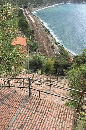 Steps with railway