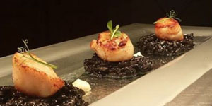 scallops with squid risotto